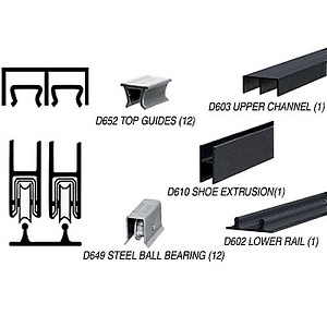 CRL D2203BLBBTrack Assembly D603 Upper and D602 Lower Track with Ball-Bearing Wheels, Flat Black