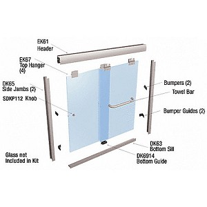 CRL EK146072BN Suite EK Series Shower Door Kit, Brushed Nickel