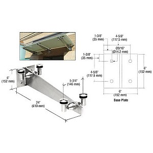 "CRL GAB24PS 24"" Universal Wall Mounted Glass Awning Bracket"