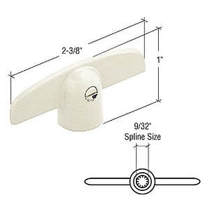 "CRL H4046 T-Crank Window Handle for Peachtree with 9/32"" Spline, White"