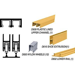 CRL D2204GATrack Assembly D609 Upper and D602 Lower Track, Gold Anodized