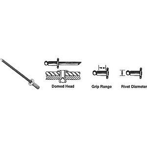CRL FBF43 Grip Range Stainless Mandrel and Rivet, Case of 10000