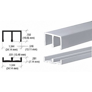 "CRL EP13G Plastic Track and Upper Guide for 1/2"" Sliding Panels, Gray"