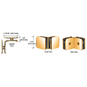 CRL GCB91GP Traditional Style Oversized Glass Clamp, Gold Plated