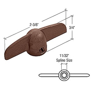 "CRL H3805 Chestnut Bronze T-Crank Window Handle with 11/32"" Spline Size for Truth"