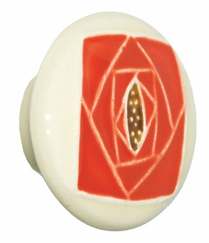 Acorn PR5YP Large Round Knob Off White w/Square Knob Orange Rose