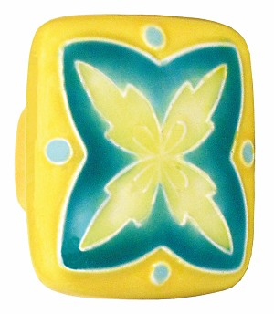 "Acorn PS2YP Large Square Knob Yellow & Teal ""X"" Design"