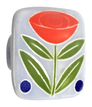 Acorn PS6YP Large Square Knob Light Blue w/Flower & 2 Berries