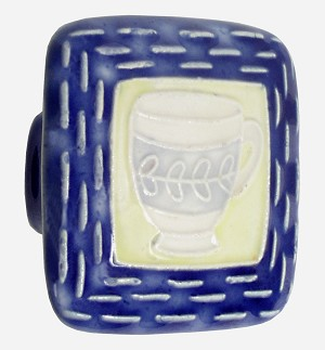 Acorn PS7YP Large Square Knob Blue & Yellow w/Teacup