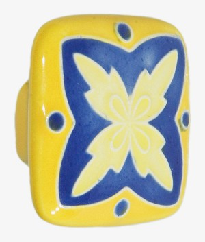 "Acorn PS8YP Large Square Knob Yellow & Blue ""X"" Design"