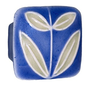 Acorn PSMYP Small Square Knob Dark Blue w/Leaves No Berries