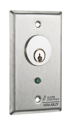 Alarm Controls MCK-5-5 Key Switch Single Gang Stainless Steel Plate with Pneumatic T.D. N/O, N/C Green LED