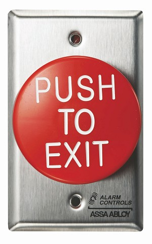 Alarm Controls TS60 Push Button Single Gange Red Round Push to Exit Button Satin Stainless Steel