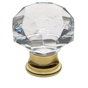 "Baldwin 4324 Cabinet Knob 1.38"" Crystal, Polished Brass"