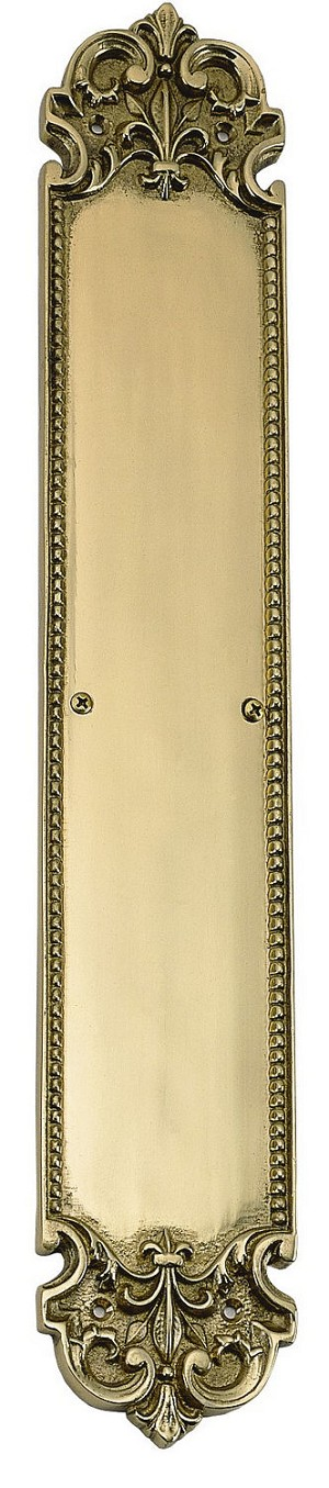 "Brass Accents A04-P3220 Fluer De Lis Push Plate 3"" x 18"", Antique Brass"