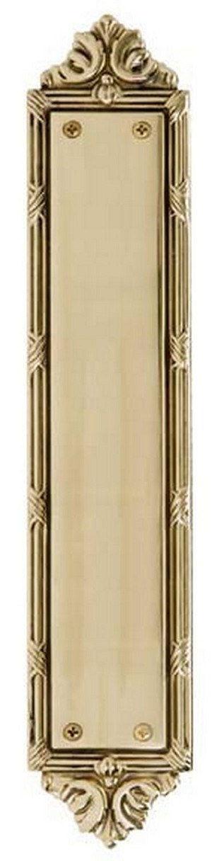 "Brass Accents A05-P7230 Ribbon & Reed Push Plate 2-1/2"" x 13-3/4"", Polished Brass"