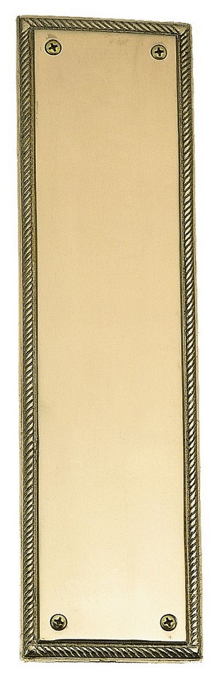 "Brass Accents A06-P0240 Rope Push Plate 3"" x 12"", Polished Brass"