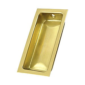 "Deltana FP227U3 Large Flush Pull, 3-5/8"" x 1-3/4"" x 1/2"", Polished Brass (Each)"