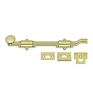 "Deltana FPG103 Surface Bolt with Off-set 10"", Heavy Duty, Polished Brass (Each)"