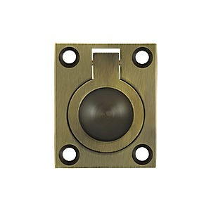 "Deltana FRP175U5 Flush Ring Pull, 1-3/4"" x 1-3/8"", Antique Brass (Each)"