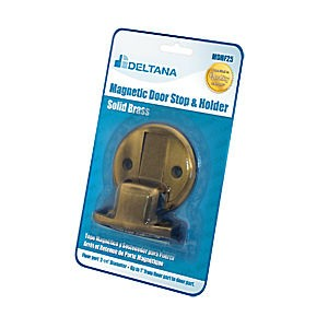 "Deltana MDHF25BP5 Magnetic Door Holder Flush 2-1/2"" Diameter Blister Pack, Antique Brass (Each)"