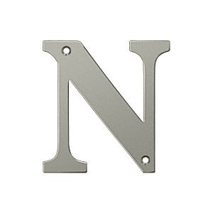 Deltana RL4N-15 Residential Letter N, Satin Nickel (Each)