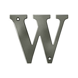 Deltana RL4W-15A Residential Letter W, Antique Nickel (Each)