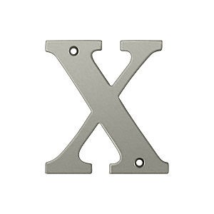 Deltana RL4X-15 Residential Letter X, Satin Nickel (Each)