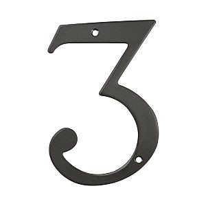 Deltana RN6-3U10B House Number 3, Oil Rubbed Bronze (Each)