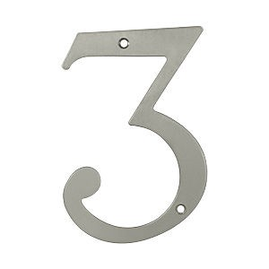 Deltana RN6-3U15 House Number 3, Satin Nickel (Each)