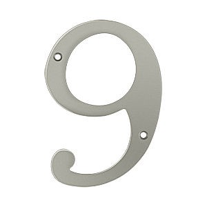 Deltana RN6-9U15 House Number 9, Satin Nickel (Each)