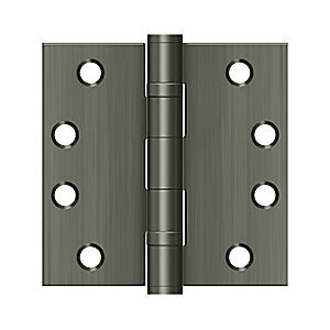 "Deltana S44HDBB15A HD Square Hinge 4"" x 4"" with Ball Bearing, Antique Nickel (Pair)"