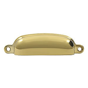 "Deltana SHP29U3 Exposed Shell Pull 4"", Polished Brass (Each)"