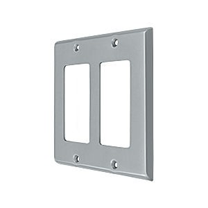 Deltana SWP4741U26D Switch Plate, Double Rocker, Brushed Chrome (Each)