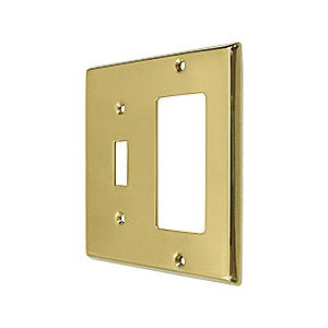 Deltana SWP4743U3 Switch Plate, Single Switch/Single Rocker, Polished Brass (Each)