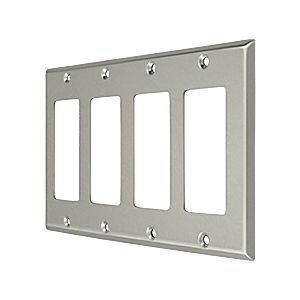 Deltana SWP4744U15 Switch Plate, Quadruple Rocker, Satin Nickel (Each)