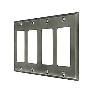 Deltana SWP4744U15A Switch Plate, Quadruple Rocker, Antique Nickel (Each)