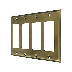 Deltana SWP4744U5 Switch Plate, Quadruple Rocker, Antique Brass (Each)