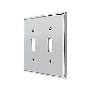 Deltana SWP4761U26 Switch Plate, Double Standard, Chrome (Each)