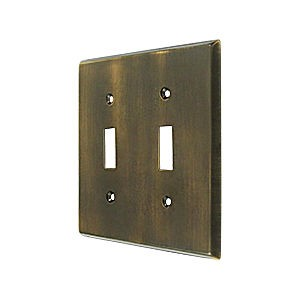 Deltana SWP4761U5 Switch Plate, Double Standard, Antique Brass (Each)