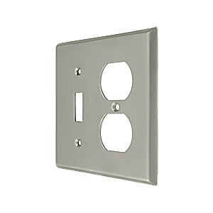 Deltana SWP4762U15 Switch Plate, Single Switch/Double Outlet, Satin Nickel (Each)