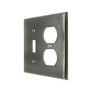Deltana SWP4762U15A Switch Plate, Single Switch/Double Outlet, Antique Nickel (Each)