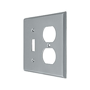 Deltana SWP4762U26D Switch Plate, Single Switch/Double Outlet, Brushed Chrome (Each)