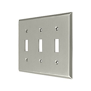 Deltana SWP4763U15 Switch Plate, Triple Standard, Satin Nickel (Each)