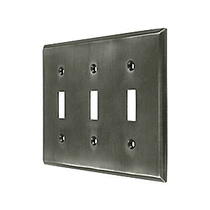 Deltana SWP4763U15A Switch Plate, Triple Standard, Antique Nickel (Each)
