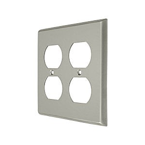 Deltana SWP4771U15 Switch Plate, Quadruple Outlet, Satin Nickel (Each)