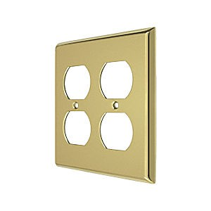 Deltana SWP4771U3 Switch Plate, Quadruple Outlet, Polished Brass (Each)