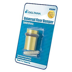 "Deltana UFB5000BP3 Universal Floor Bumper Blister Pack 2"", Polished Brass (Each)"