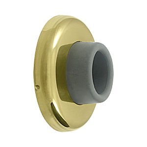 Deltana WB250U3 Wall Mount Concave Flush Bumper, 2-1/2 Diameter, Polished Brass (Each)
