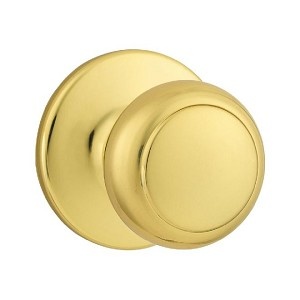 Kwikset 605 Cove Knob Double Cylinder Trim, Bright Brass